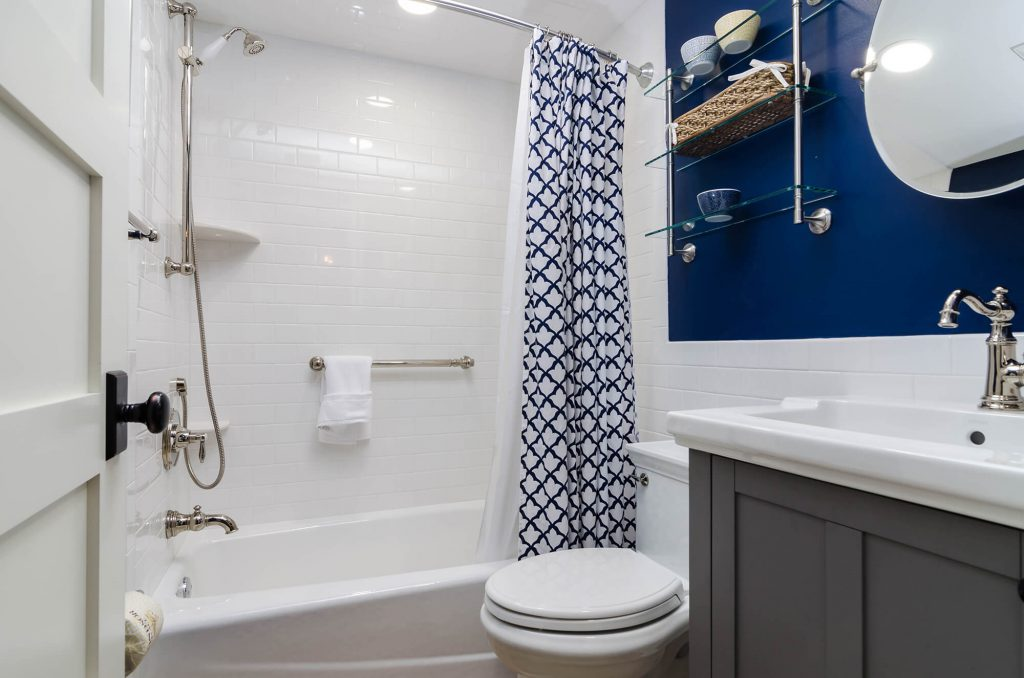 Blue and White Bathroom Remodel with Subway Tiles in Lee & Collier County