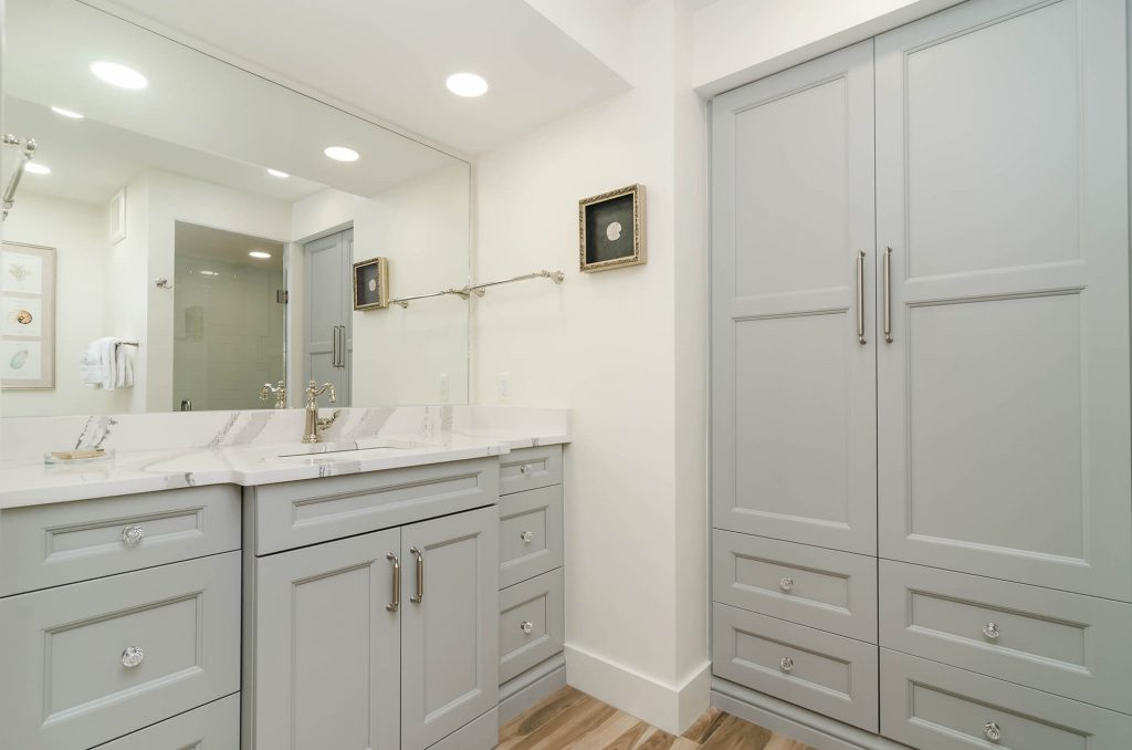Master Bathroom Remodel with Tall Grey Cabinets in Lee & Collier County