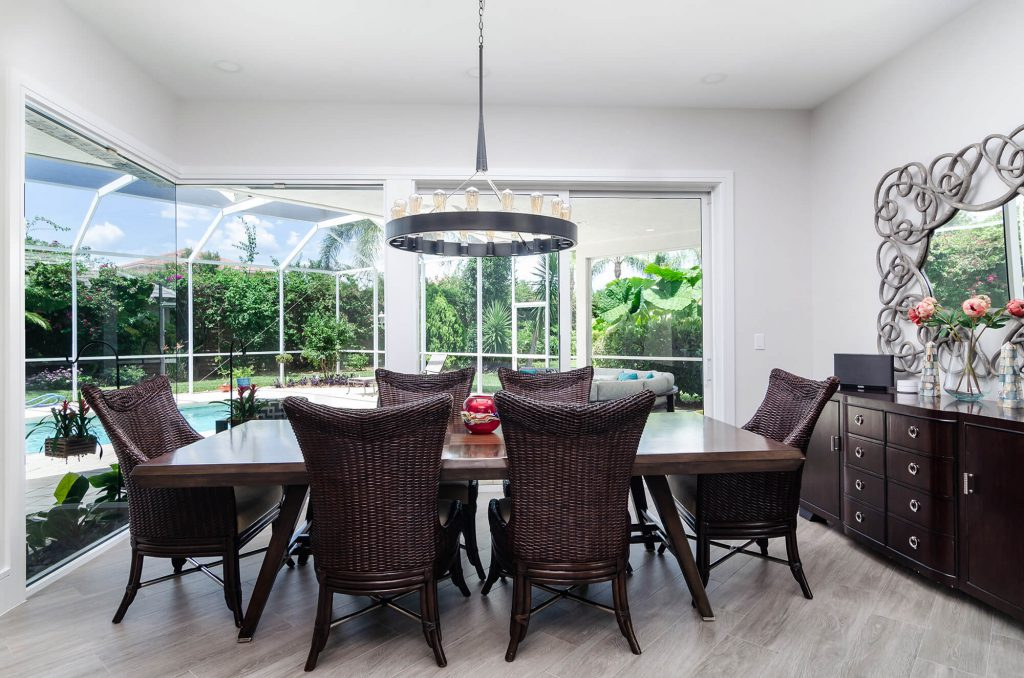 Wyndemere, FL Dining Room Renovation with Brown Wicker